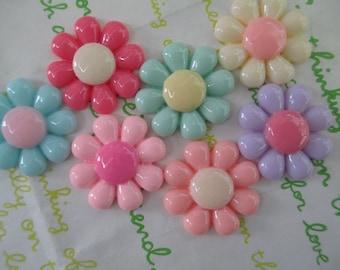 Colorful Daisy flower cabochons Set 7pcs