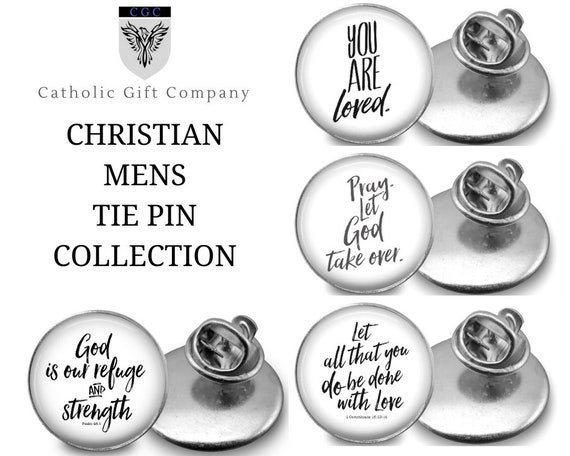 Catholic Tie Pin - tie tacs -CHRISTIAN MENS COLLECTION - Choose one or the whole set