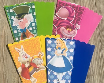 Alice in Wonderland Alice Mad Hatter Tea Party | Popcorn Boxes, Treat Boxes, Favor Boxes, Goody Boxes, Snack Boxes, 12 Boxes