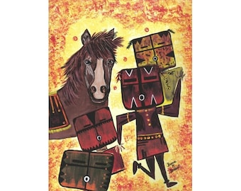 Native American Folk Art, Tribal Powwow, OOAK Painting, Pony Horse, Original Acrylic, Southwestern Kachina, Home Decor, Wall Hanging, 9 x 12