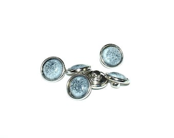 Snap - MINI - Metal Doublebeads - synthetic Cabochon - Crackle effects - grey and silver - BPSYMI1215GRI093