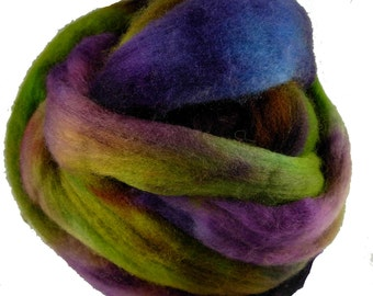 Hand Dyed Australian Wool Roving,Purple, Green, Turquoise for Spinning or Felting, 4 oz.