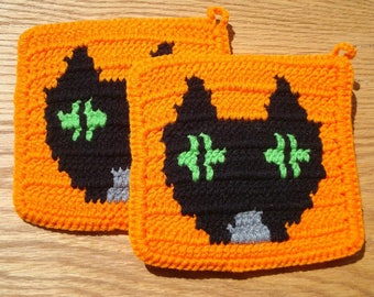 Halloween Cat Potholders Black Cat and Orange Potholders Pot Holders Potholders Spooky Holiday Kitchen MADE TO ORDER