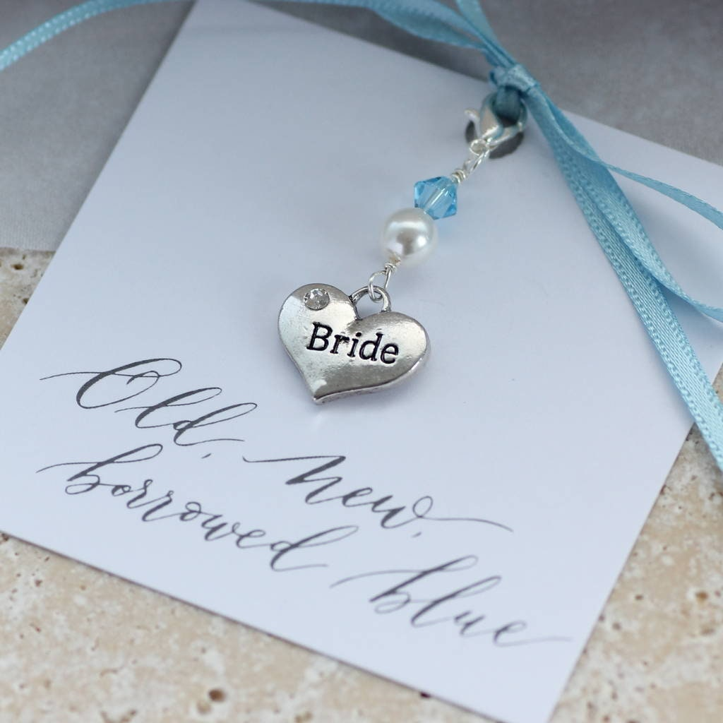 Something Blue Brides Heart Charm Wedding Memento Gift For