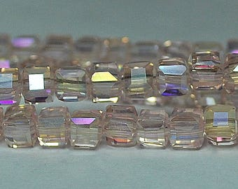 15 pcs 5mm Faceted Transparent Pale Pink AB Rainbow Glass Cube Beads