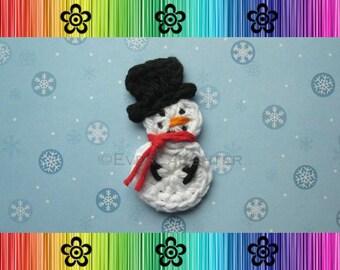 CROCHET PATTERN - Snowman Appliqué - Detailed Photos