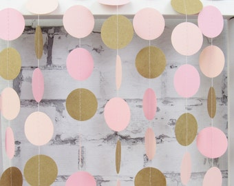 Pink Garland - Kraft Garland - Rustic Wedding Garland - Pink Baby Shower - Paper Garland