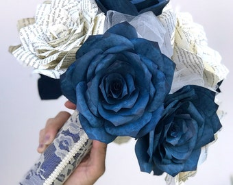 Book Page Paper Rose Bouquet Shown in Navy Blue and Natural