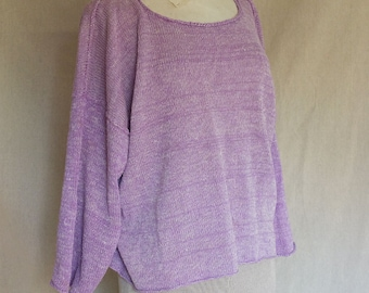 Lilac  Linen and Wild Silk -  Handmade knitted Pullover  - individually knitted by kathrin kneidl  -  OAK