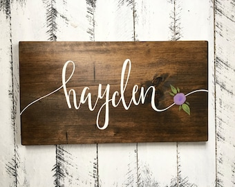Custom Name Sign - with flower