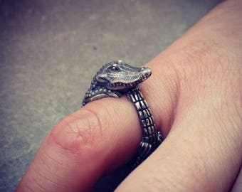 Crocodile ring Crocodile jewelry Reptile jewelry Alligator ring Alligator jewelry Animal ring Silver crocodile Hunter Hunting Croco Gift