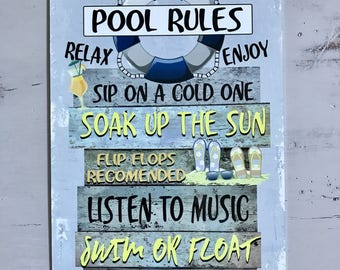 The Pool Rules- Metal Sign - Beach decor - Home Decor - Outdoor Decor - Birthday Gift - Housewarming Gift - Pool Decor - Pool Sign - Blue