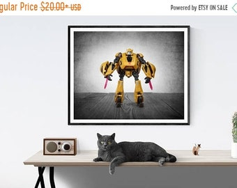 FLASH SALE til MIDNIGHT Vintage Transformer Bumble Bee on Vintage Brown Background, Photo Print, Boys Room, Boys Wall Art, Boys Decor, Playr