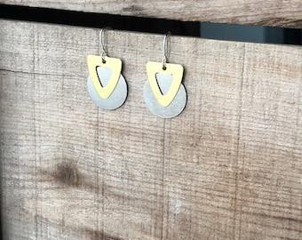 Two Tone Drop Earrings-Free Shipping in the U.S.!!