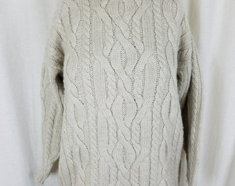 Vintage LL Bean Wool Cable Knit Turtleneck Sweater Womens M Bulky Oatmeal White Chunky Oatmeal Pullover 1980s 1990s Long