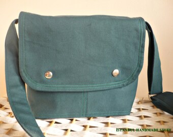 Mini Messenger Bag /Emerald Green  Canvas/ Small  / Adjustable Strap