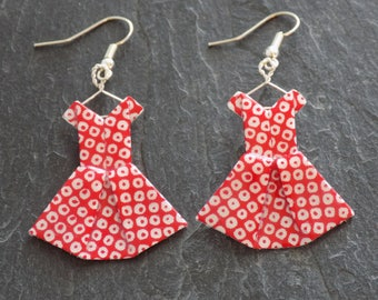 Earrings red and white origami dresses