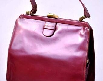 Vintage 60s Lodix Pearlescent Cherry Leather Kelly Bag • Madmen Handbag