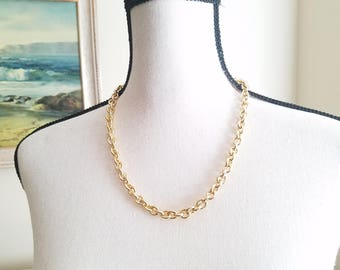 Kenneth Jay Lane Chain Necklace Gold Vintage KJL Designer Jewelry Chain Link 22 inches Tagged Signed