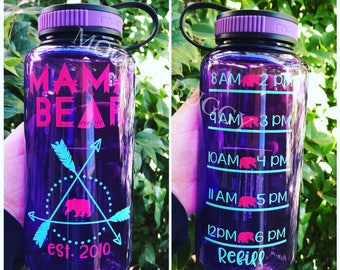 Mama Bear motivational water bottle with hourly time tracker, accountability water bottle, water tracker, you pick 2 colors