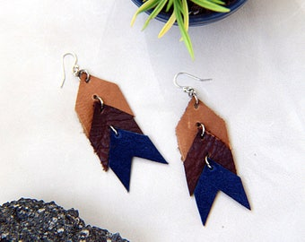 Leather Chevrons Statement Earrings - Light Brown, Medium Brown, Blue