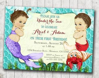 Boy Girl Twins first Birthday Invitation for Twins boy and girl - mermaid - DIY Printable