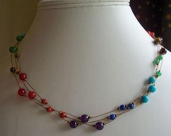 Chakra Rainbow Triple Strand Necklace - carefully hand knotted semi-precious beads