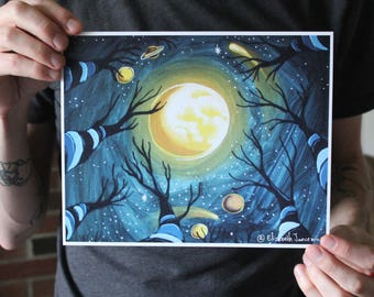 Looking Up at the Night Sky; Fine Art Print
