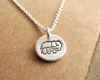 Elephant Necklace, Teeny Tiny Mother and Baby, New Mom Necklace, Fine Silver, Sterling Silver Chain, Made To Order