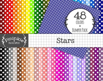 Stars Digital Paper - INSTANT Download - 48 Basic Scrapbooking Papers - 12x12 - Commercial Use (Cu) - Printable, Scrapbooking,