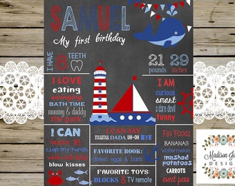 NAUTICAL 1st BIRTHDAY CHALKBOARD - Nautical Chalkboard Sign - Poster Sailor 1st Birthday Party Ocean Under The Sea Nautical Party