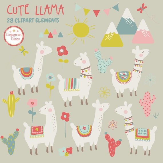 Cute llamas cactus and mountains printable digital clipart set
