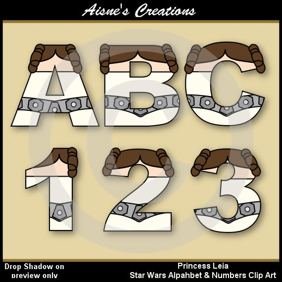 star wars letters princess leia wars alphabet letters amp numbers clip 24972