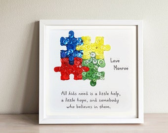 Autism Puzzle Piece~ Autism Teacher Gift~ Button Art~Autism Gift~Autism Awareness~ Thank you Teacher~ Teacher Appreciation Gift~