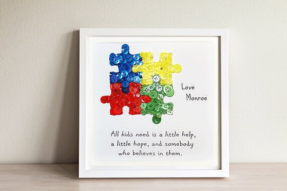 Autism Puzzle Piece Autism Teacher Gift Button Artautism