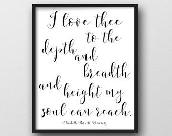How Do I Love Thee/Elizabeth Barrett Browning/ Instant Download,Home Decor/Poster 16x20/ Couples Quote/16x20,24x30,8x10/ Valentines for Her