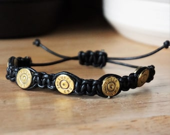 9mm Bullet Shell Bracelet with Leather Cord