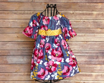 fuchisa floral peasant dress, sizes 1-6