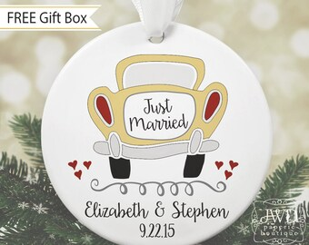 Just Married Car Ornament Personalized Our First Christmas Married Ornament Couples Gift Wedding Gift -  Item#OR1713