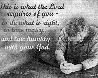 Instant Download Print, Praying Man with Scripture, BW photo, Christian Men Gift