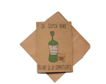 Funny 40th birthday card for him - Scotch lover birthday card - made in 1978 birthday card funny - husband scotch birthday card funny