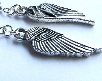 Silver Angel Wings Earrings - Detailed Pressed Angelic Wings Charm Dangle Earrings