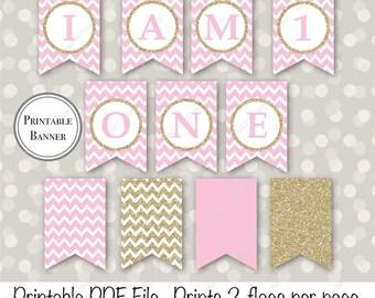 SALE - Gold & Pink 1st Birthday Banner - I am One Banner - I am 1 - Printable Girl Birthday Banner - Pastel Pink Gold Glitter 20-G43