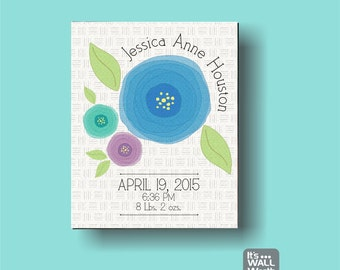 Flower Birth Announcement Canvas Print - Nursery Canvas Subway Art , Personalized Wall Hanging