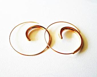 Gold Spiral Earrings, Gypsy Earrings, Tribal Hoop Earrings, Ethnic Earrings, Boho Earrings