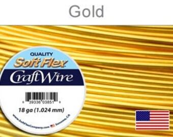 18 Gauge Gold Soft Flex Wire, Round, Non-Tarnish, Supplies, Findings, Craft Wire