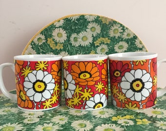 Vintage Coffee Mugs, Retro Coffee Mugs, 1960s Mod Coffee Mugs