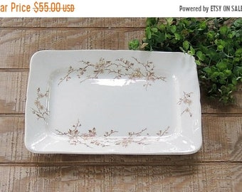 ON SALE Mercer China Large Serving Tray or Platter Ca 1880s Brown Multi Transferware