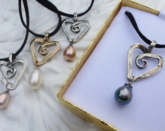 All Pure Nacre Pearl Heart Pendant Necklace White Black Pink Coral Whimsical Ultrasuede Adj Boho Casual Rustic  Layer Handcast Made in USA