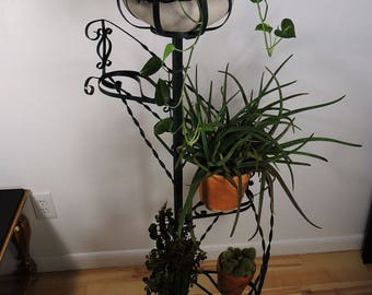 Vintage Wrought Iron Large Metal Planter Rustic Stand